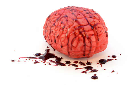 An isolated human brain with fake blood for use as a prop item. Banco de Imagens