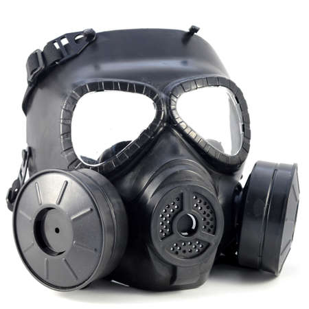 An isolated shot of a gas mask for use in modern warfare.