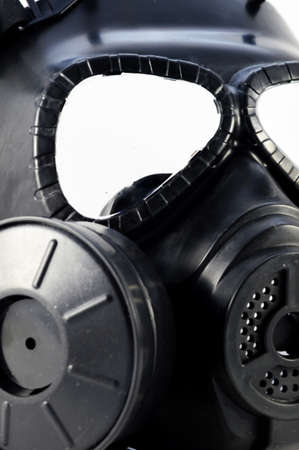 A closeup view of a gas mask used in modern warfare.