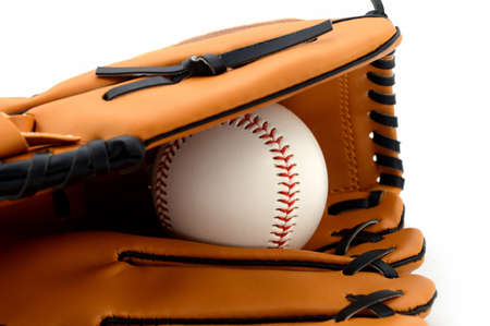 A brand new baseball mitt and ball for playing the favorite pastime team sport. Stockfoto