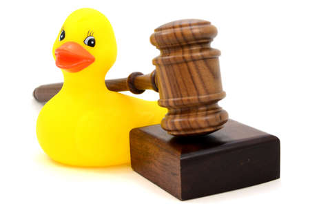 A rubber duck and gavel to give conceptual meaning to ideas like child custody and childrens aid.