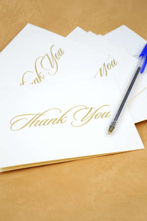 A closeup view of some thank you cards being sent to show appreciation. Stock Photo