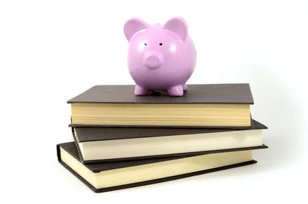An isolated shot of a pig bank and books to illustrate school savings funds. Stockfoto