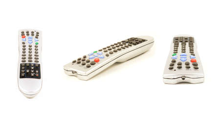 A 16x9 resolution composite of three Universal Remote Controllers in different angles isolated over a white background.