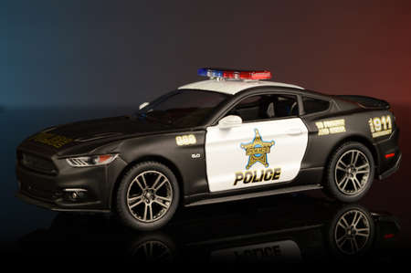 A closeup of a police car to protect and serve the community.