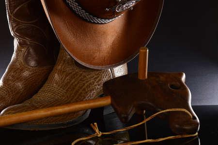 A still life composition of a playful cowboy theme.