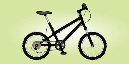 pedaling: Black bicycle on tne green background