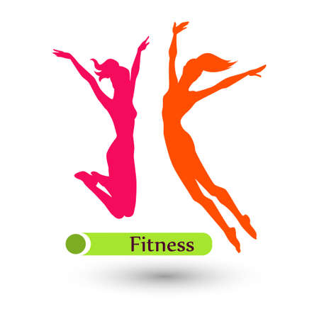 group fitness: Color fitness women on the white background Illustration