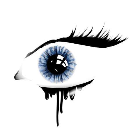 Female blue eye with teardrop Stock Vector - 24191232