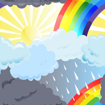 Sun, rainbow and clouds in the sky Vector