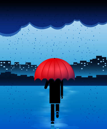rainy day: Man with red umbrella in the rain