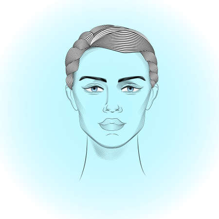 asexual: Androgyne head on the abstract backgraund