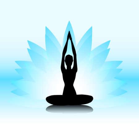 yoga meditation: Female silhouette on the blue lotus