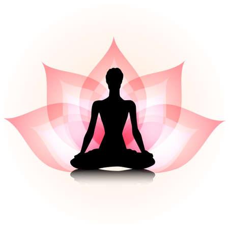 Frau Silhouette auf dem Lotus Standard-Bild - 24226070
