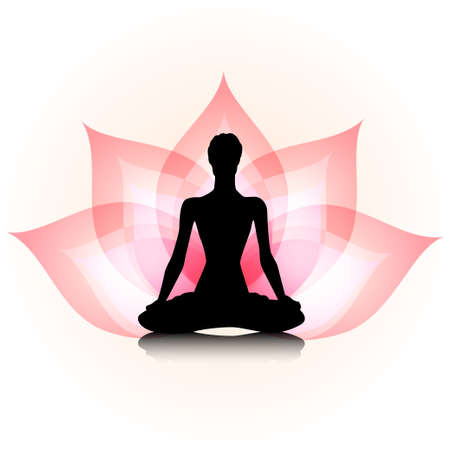 yoga meditation: Woman silhouette on the lotus