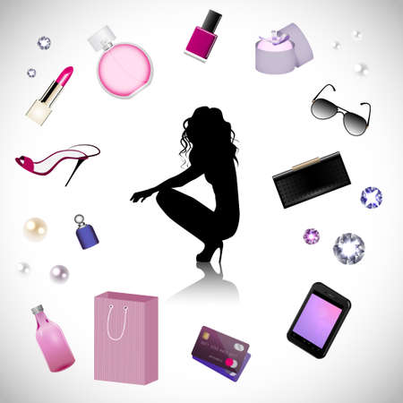 shampoo hair: Silhouette of woman on the cosmetics background