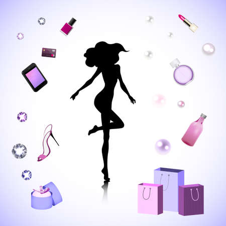 adamant: Female silhouette on the fashion cosmetic background