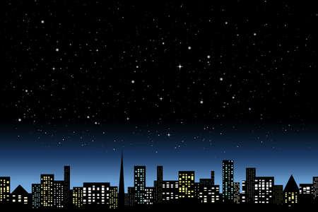 都市の夜の光  イラスト・ベクター素材