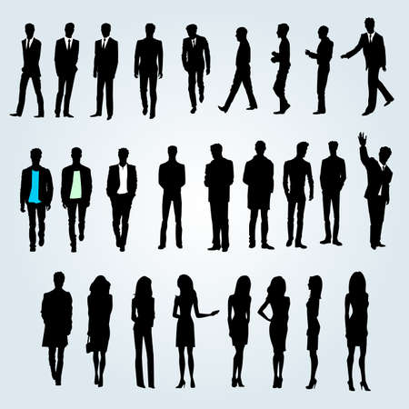 female silhouette: Group of businessmen and businesswomen