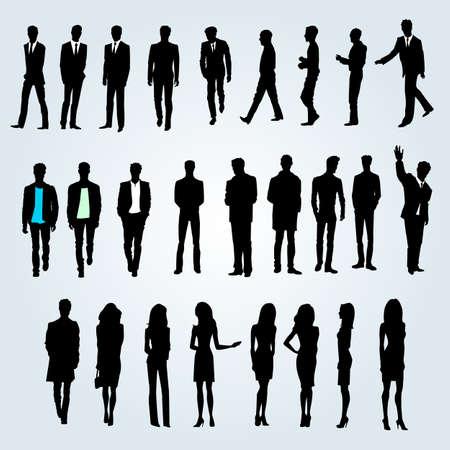 silueta masculina: Grupo de empresarios y empresarias