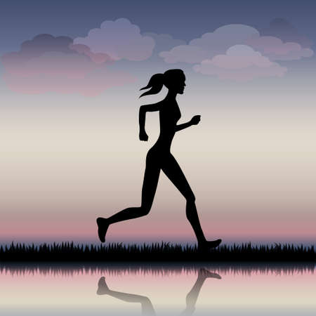 road runner: Woman running on the road in the morning Illustration