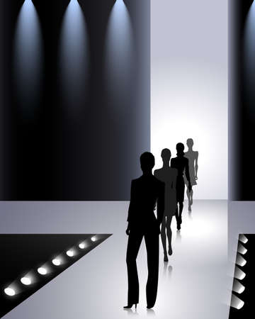 catwalk model: Female silhouettes on the fashion runway Illustration