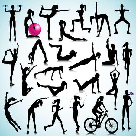 ejercicio aer�bico: Siluetas del deporte de las mujeres Vectores