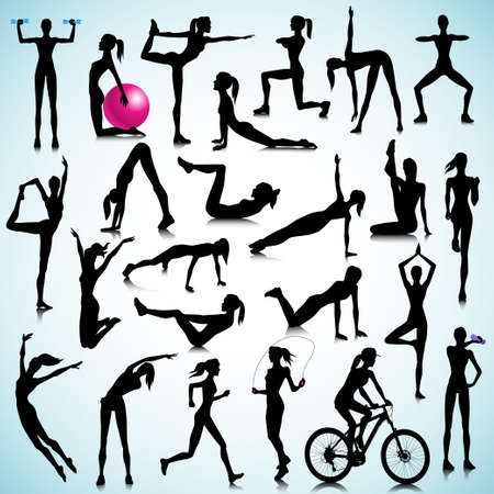 stretching exercise: Sport silhouettes of women