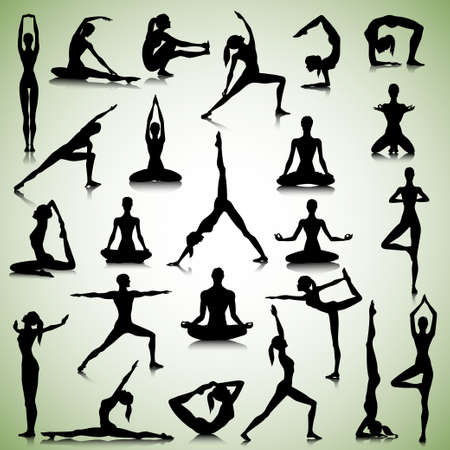 fitness instructor: Male and female silhouettes of  yogi Illustration