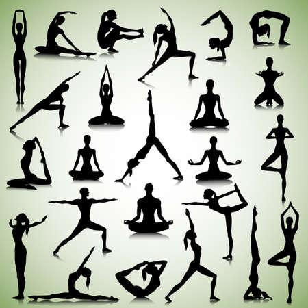 Mannelijke en vrouwelijke silhouetten van yogi