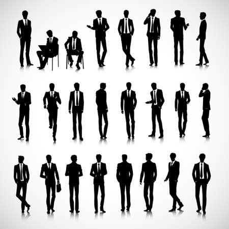 Set di uomini d'affari sagome su sfondo