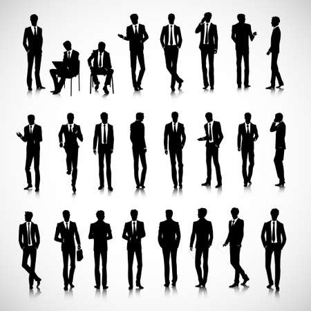 laptop silhouette: Set of business men silhouettes on background
