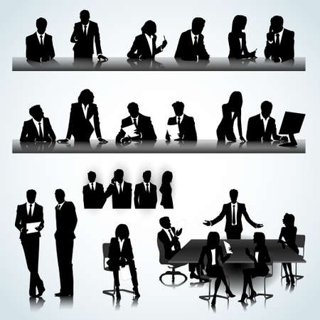 business woman phone: Set of business people silhouettes on the office background