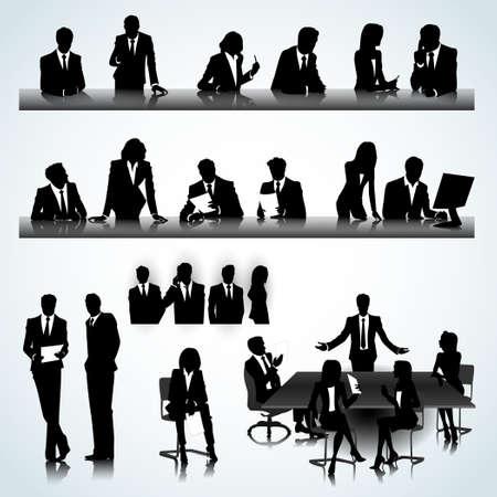 Set van mensen uit het bedrijfsleven silhouetten op het kantoor achtergrond Vector Illustratie