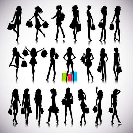 outline women: Set of woman shopping silhouettes on the background Illustration