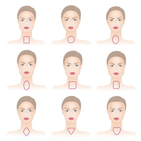ovalo: Conjunto de formas de la cara de la mujer en el fondo abstracto Vectores