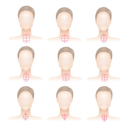 forehead: Set of woman face shapes on abstract background