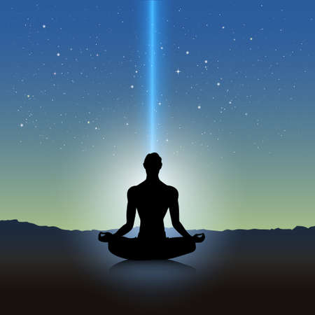 Male silhouette in meditation pose on landscape Vector