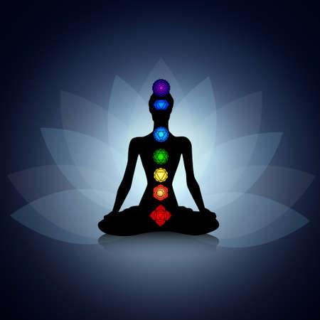 silueta humana: Silueta humana en pose de yoga con los chakras
