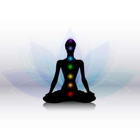 chakra symbols: Human silhouette in yoga pose with chakras