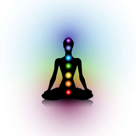 heal care: Human silhouette with chakras