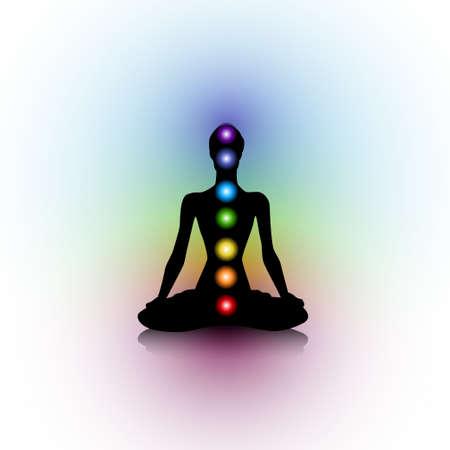 Menselijk silhouet met chakra's Stock Illustratie