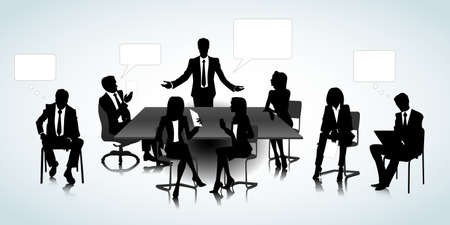 young businessman: Set of business people silhouettes on the office background