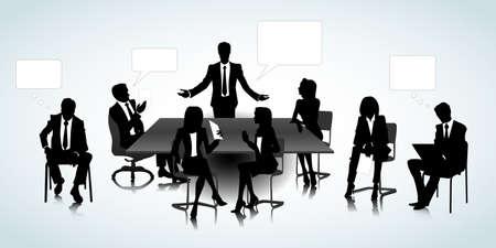Set van mensen uit het bedrijfsleven silhouetten op het kantoor achtergrond