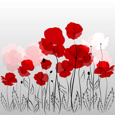 Field of red poppies on abstract grey  Ilustrace