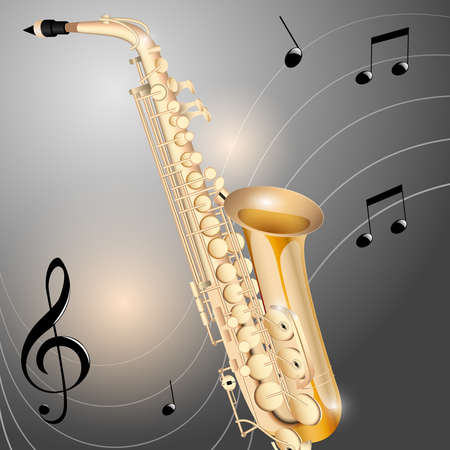 Chrome saxophone on abstract metal  Vector
