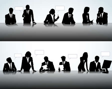 black lady talking: Set of business people silhouettes on the office background