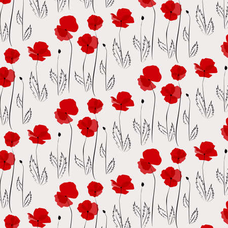 papaver: Pattern of poppies including seamless sample in swatch panel