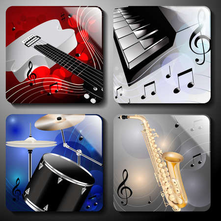Set of classic music instruments on color