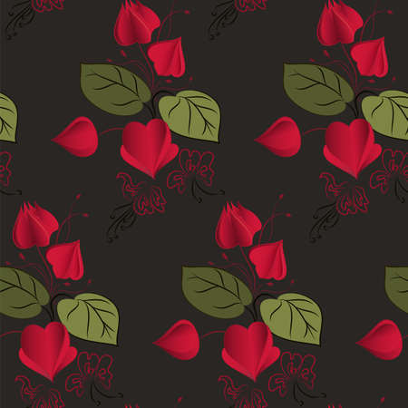 winter cherry: Physalis pattern including seamless sample in swatch panel